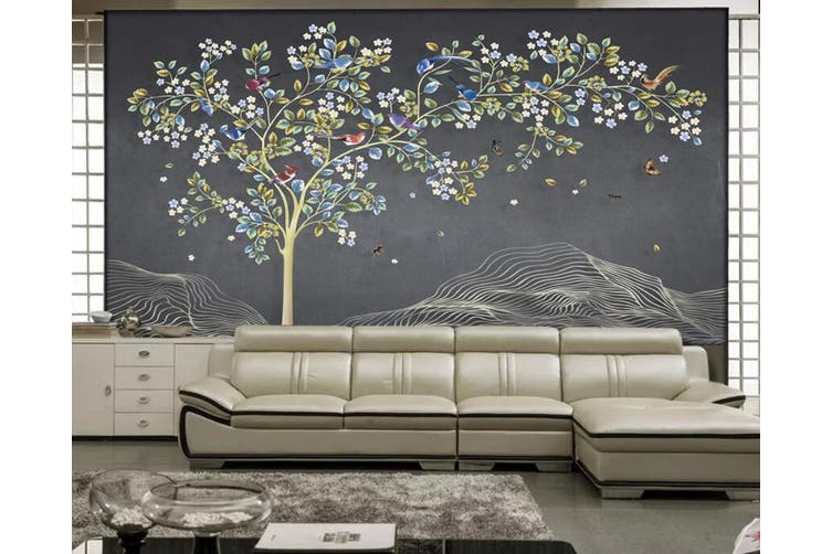 3D Home Wallpaper Colored Leaves 1096 BCHW Wall Murals Woven paper (need glue), XL 208cm x 146cm (WxH)(82''x58'')