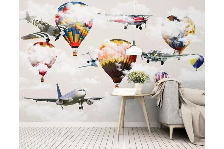 3D Home Wallpaper Airplane Balloon 1090 BCHW Wall Murals Woven paper (need glue), XXL 312cm x 219cm (WxH)(123''x87'')