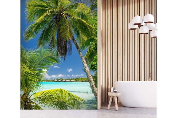 3d Home Wallpaper Coconut Tree Sea 081 Ach Wall Murals Woven Paper Need Glue Xl 208cm X 146cm Hxw 82 X58 Matt Blatt