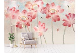 3D Home Wallpaper Pink Flowers 100 ACH Wall Murals Self-adhesive Vinyl, XXL 312cm x 219cm (WxH)(123''x87'')