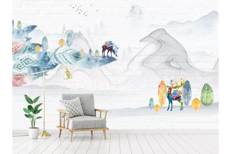 3D Home Wallpaper Little Deer Park 099 ACH Wall Murals Self-adhesive Vinyl, XL 208cm x 146cm (WxH)(82''x58'')