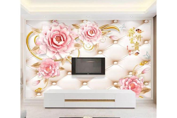 3D Home Wallpaper Pink Flowers 097 ACH Wall Murals Woven paper (need glue), XL 208cm x 146cm (WxH)(82''x58'')