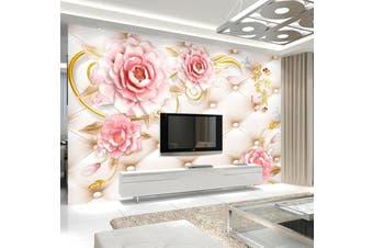 3D Home Wallpaper Pink Flowers 097 ACH Wall Murals Woven paper (need glue), XXL 312cm x 219cm (WxH)(123''x87'')