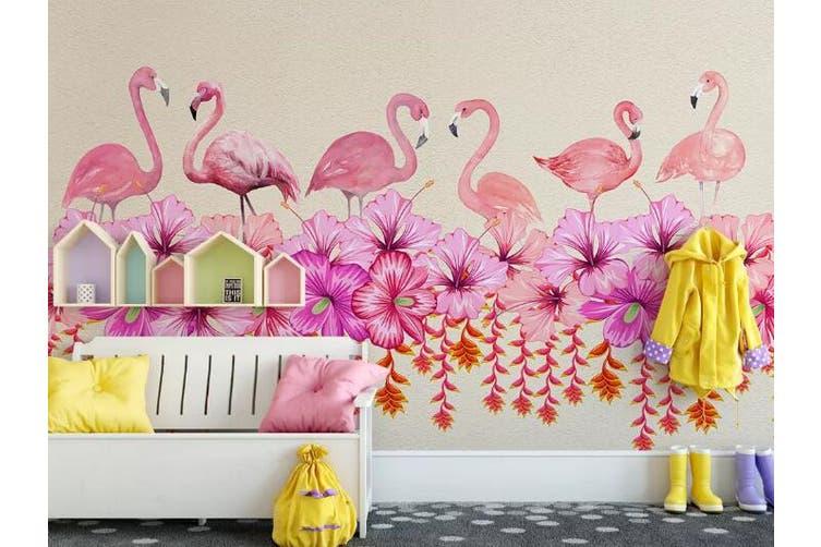 3D Home Wallpaper Flamingo Flower 095 ACH Wall Murals Self-adhesive Vinyl, XL 208cm x 146cm (WxH)(82''x58'')