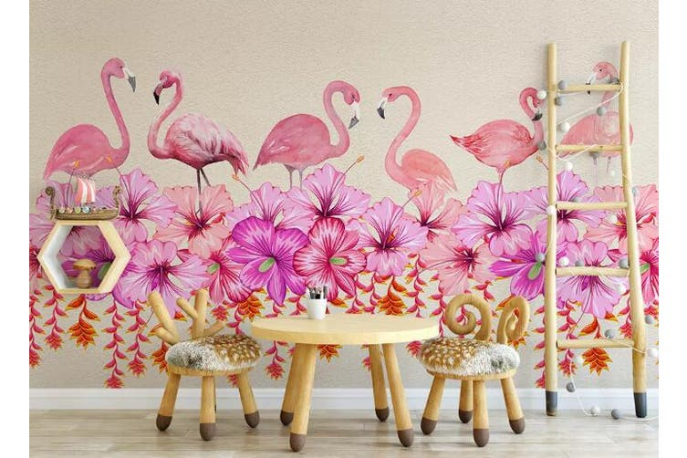 3D Home Wallpaper Flamingo Flower 095 ACH Wall Murals Self-adhesive Vinyl, XXL 312cm x 219cm (WxH)(123''x87'')
