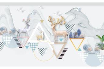 3D Home Wallpaper Cute Deer 094 ACH Wall Murals Self-adhesive Vinyl, XXXXL 520cm x 290cm (WxH)(205''x114'')