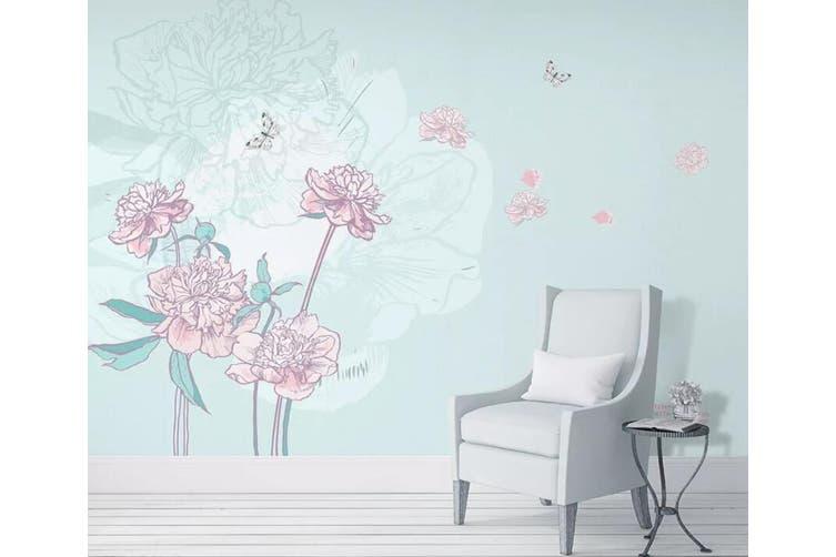 3D Home Wallpaper Pink Flower Butterfly 092 ACH Wall Murals Self-adhesive Vinyl, XXL 312cm x 219cm (WxH)(123''x87'')