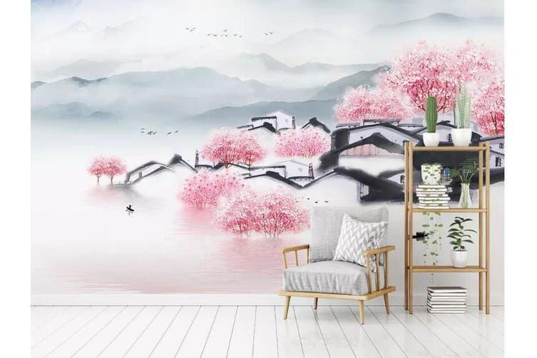 3D Home Wallpaper Pink Town 089 ACH Wall Murals Self-adhesive Vinyl, XL 208cm x 146cm (WxH)(82''x58'')