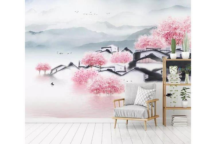 3D Home Wallpaper Pink Town 089 ACH Wall Murals Self-adhesive Vinyl, XXL 312cm x 219cm (WxH)(123''x87'')