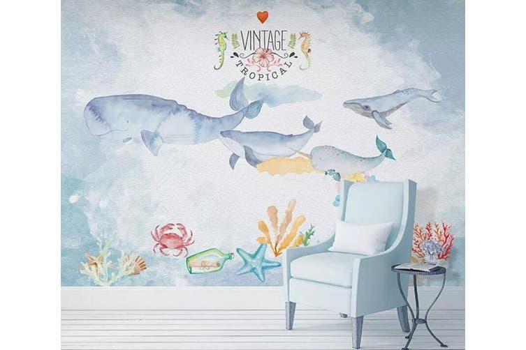 3D Home Wallpaper Cute Whale 085 ACH Wall Murals Woven paper (need glue), XXXL 416cm x 254cm (WxH)(164''x100'')