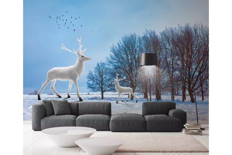 3D Home Wallpaper Fawn Flying Bird 084 ACH Wall Murals Woven paper (need glue), XXL 312cm x 219cm (WxH)(123''x87'')