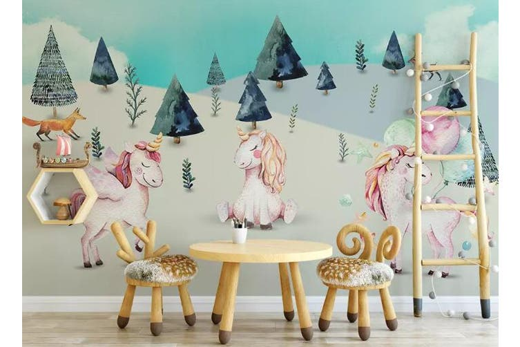 3D Home Wallpaper Unicorn Cute 082 ACH Wall Murals Woven paper (need glue), XXXXL 520cm x 290cm (WxH)(205''x114'')