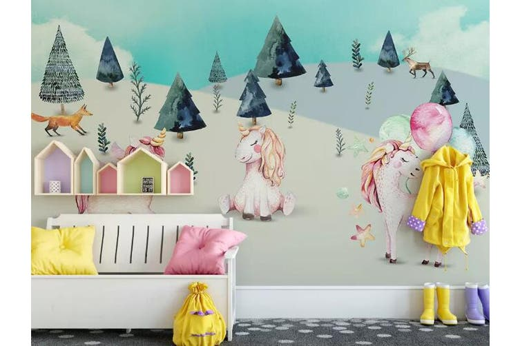 3D Home Wallpaper Unicorn Cute 082 ACH Wall Murals Self-adhesive Vinyl, XL 208cm x 146cm (WxH)(82''x58'')