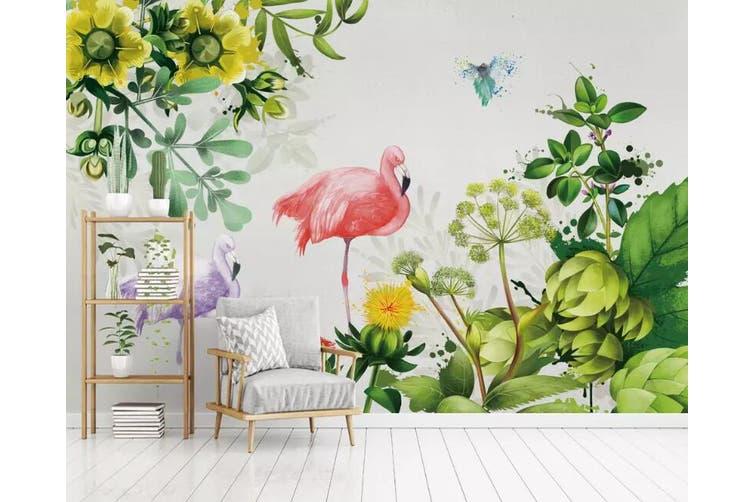 3D Home Wallpaper Flamingo Plant 081 ACH Wall Murals Self-adhesive Vinyl, XXXL 416cm x 254cm (WxH)(164''x100'')