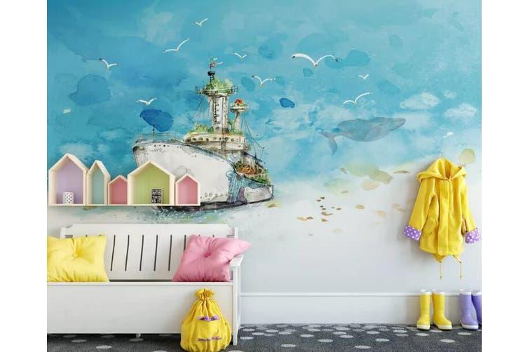 3D Home Wallpaper Ship Seabird 080 ACH Wall Murals Self-adhesive Vinyl, XXXXL 520cm x 290cm (WxH)(205''x114'')