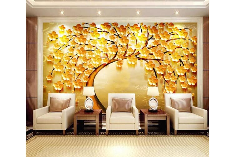 3D Home Wallpaper Golden Tree 077 ACH Wall Murals Woven paper (need glue), XL 208cm x 146cm (WxH)(82''x58'')