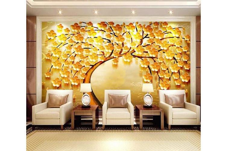 3D Home Wallpaper Golden Tree 077 ACH Wall Murals Woven paper (need glue), XXXL 416cm x 254cm (WxH)(164''x100'')