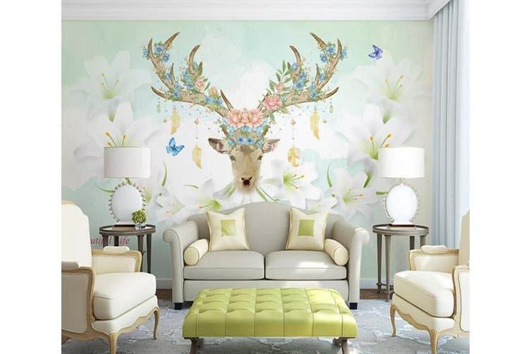 3D Home Wallpaper Elk Flowers 076 ACH Wall Murals Woven paper (need glue), XXL 312cm x 219cm (WxH)(123''x87'')