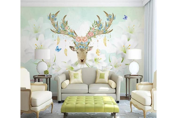 3D Home Wallpaper Elk Flowers 076 ACH Wall Murals Woven paper (need glue), XXXXL 520cm x 290cm (WxH)(205''x114'')