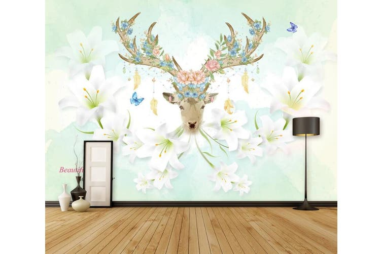 3D Home Wallpaper Elk Flowers 076 ACH Wall Murals Self-adhesive Vinyl, XL 208cm x 146cm (WxH)(82''x58'')