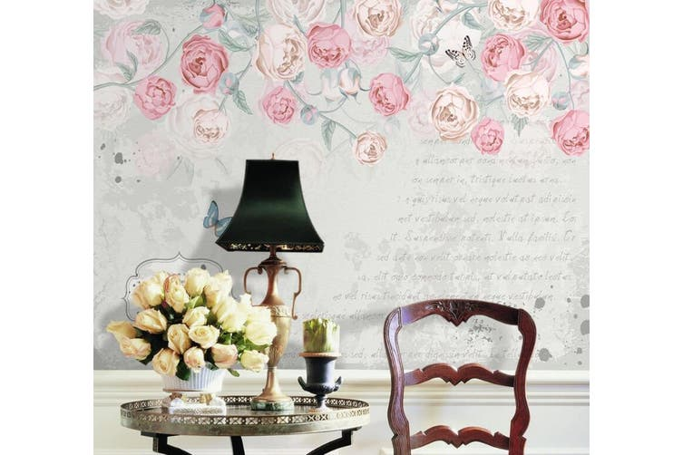 3D Home Wallpaper Pink Flowers 075 ACH Wall Murals Woven paper (need glue), XXL 312cm x 219cm (WxH)(123''x87'')