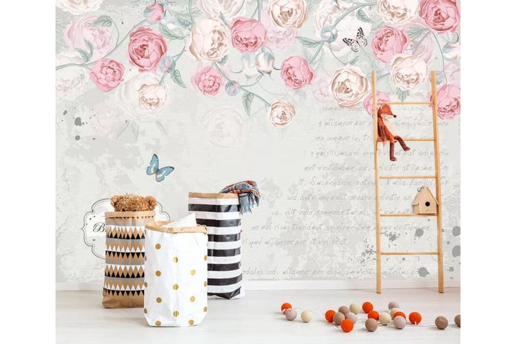 3D Home Wallpaper Pink Flowers 075 ACH Wall Murals Woven paper (need glue), XXXL 416cm x 254cm (WxH)(164''x100'')