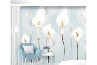3D Home Wallpaper White Flowers 073 ACH Wall Murals Woven paper (need glue), XL 208cm x 146cm (WxH)(82''x58'')