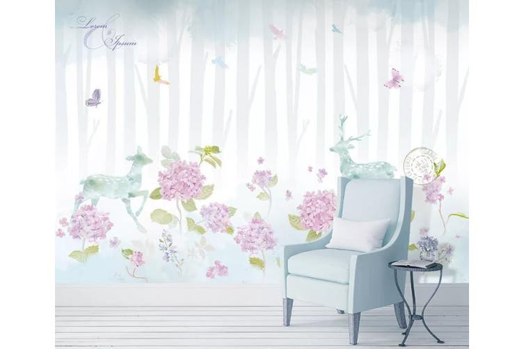 3D Home Wallpaper Flower Fawn 071 ACH Wall Murals Woven paper (need glue), XXL 312cm x 219cm (WxH)(123''x87'')