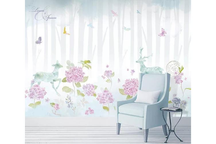 3D Home Wallpaper Flower Fawn 071 ACH Wall Murals Self-adhesive Vinyl, XXL 312cm x 219cm (WxH)(123''x87'')