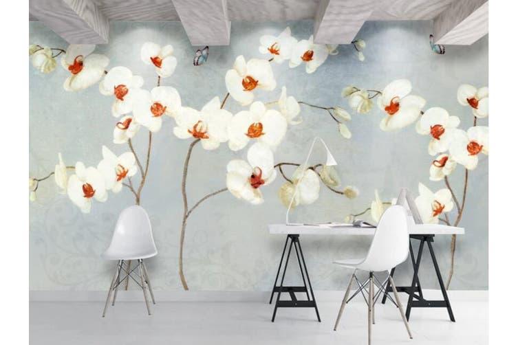 3D Home Wallpaper White Flowers 070 ACH Wall Murals Woven paper (need glue), XXL 312cm x 219cm (WxH)(123''x87'')