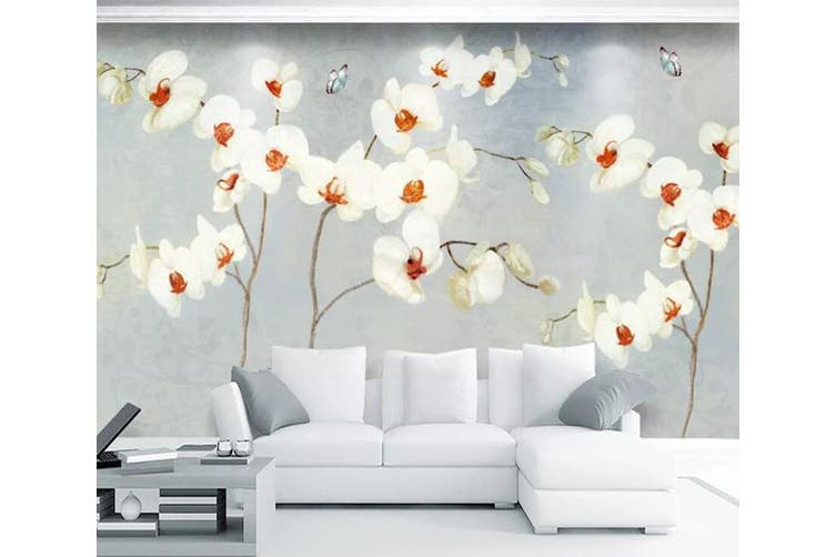 3D Home Wallpaper White Flowers 070 ACH Wall Murals Woven paper (need glue), XXXXL 520cm x 290cm (WxH)(205''x114'')