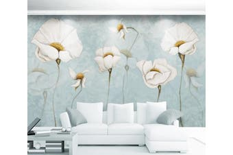 3D Home Wallpaper White Flowers 069 ACH Wall Murals Woven paper (need glue), XL 208cm x 146cm (WxH)(82''x58'')