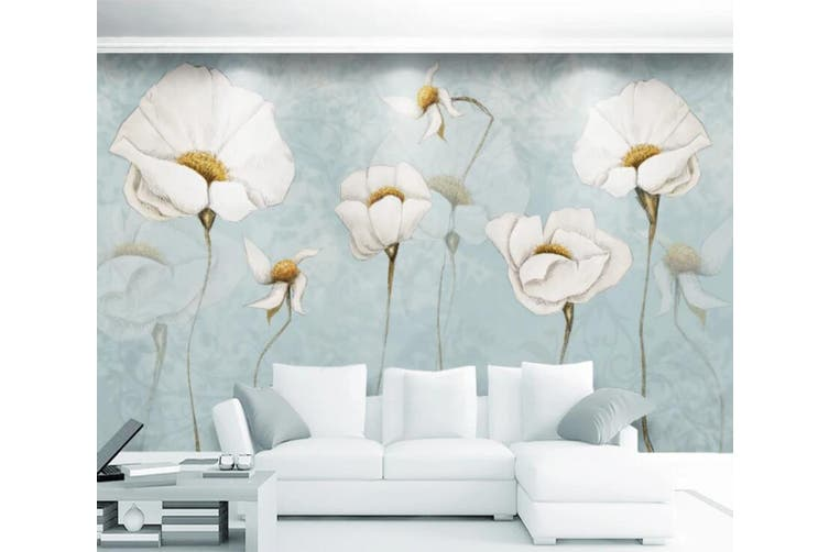 3D Home Wallpaper White Flowers 069 ACH Wall Murals Woven paper (need glue), XXXL 416cm x 254cm (WxH)(164''x100'')
