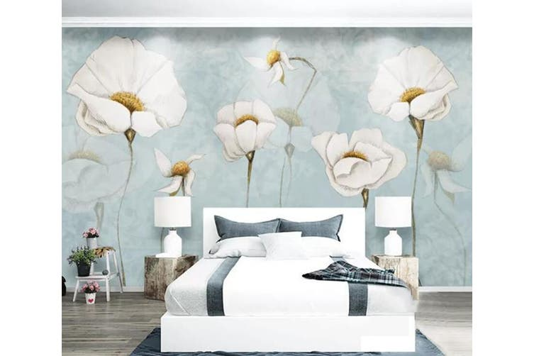 3D Home Wallpaper White Flowers 069 ACH Wall Murals Self-adhesive Vinyl, XXL 312cm x 219cm (WxH)(123''x87'')