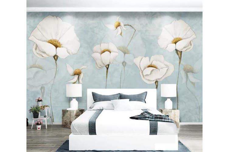 3D Home Wallpaper White Flowers 069 ACH Wall Murals Self-adhesive Vinyl, XXXXL 520cm x 290cm (WxH)(205''x114'')