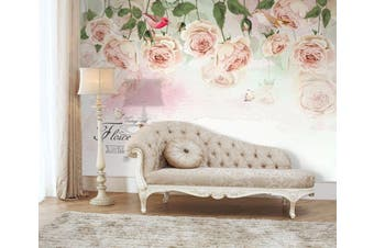 3D Home Wallpaper Pink Flowers 068 ACH Wall Murals Woven paper (need glue), XXXXL 520cm x 290cm (WxH)(205''x114'')