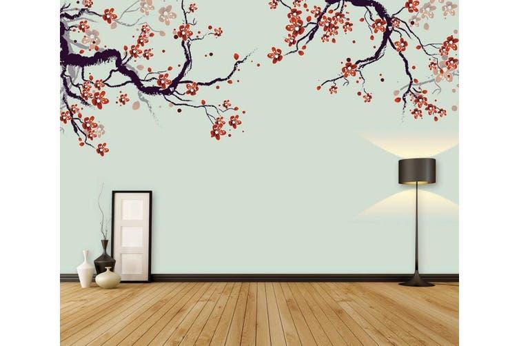 3D Home Wallpaper Red Plum 067 ACH Wall Murals Woven paper (need glue), XXXXL 520cm x 290cm (WxH)(205''x114'')