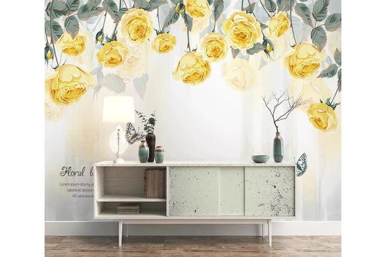 3D Home Wallpaper Yellow Flower 065 ACH Wall Murals Woven paper (need glue), XXL 312cm x 219cm (WxH)(123''x87'')