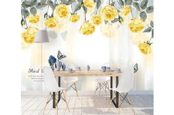 3D Home Wallpaper Yellow Flower 065 ACH Wall Murals Self-adhesive Vinyl, XXL 312cm x 219cm (WxH)(123''x87'')