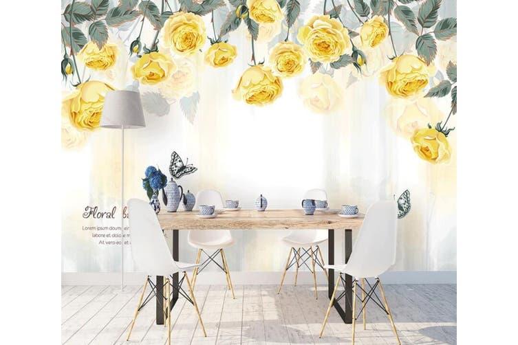 3D Home Wallpaper Yellow Flower 065 ACH Wall Murals Self-adhesive Vinyl, XXXXL 520cm x 290cm (WxH)(205''x114'')