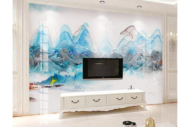 3D Home Wallpaper Wavy Lines 064 ACH Wall Murals Woven paper (need glue), XL 208cm x 146cm (WxH)(82''x58'')