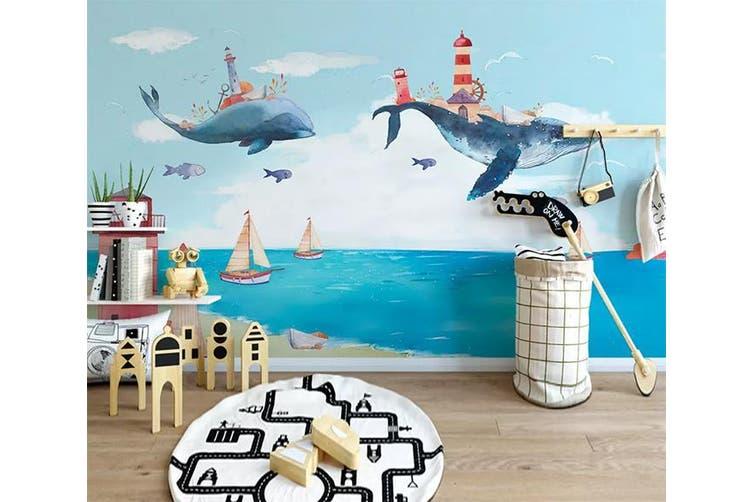 3D Home Wallpaper Whale Sea 062 ACH Wall Murals Woven paper (need glue), XXL 312cm x 219cm (WxH)(123''x87'')