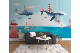 3D Home Wallpaper Whale Sea 062 ACH Wall Murals Self-adhesive Vinyl, XXXL 416cm x 254cm (WxH)(164''x100'')