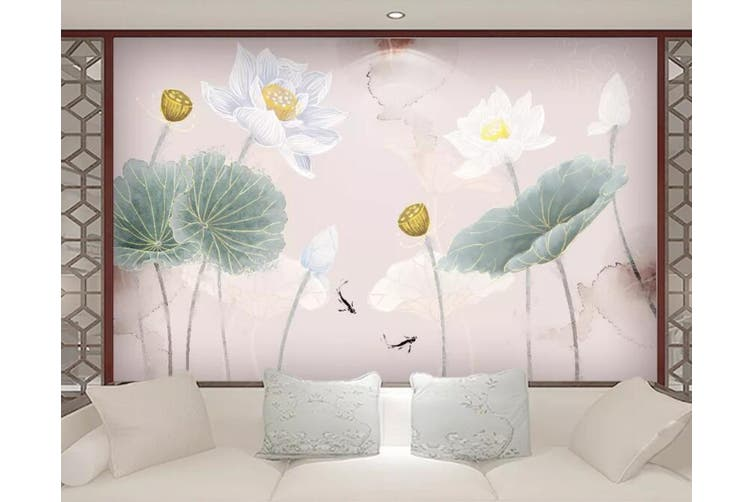 3D Home Wallpaper Lotus Pond 061 ACH Wall Murals Self-adhesive Vinyl, XXXL 416cm x 254cm (WxH)(164''x100'')