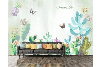 3D Home Wallpaper Butterfly Green Plant 060 ACH Wall Murals Self-adhesive Vinyl, XXXL 416cm x 254cm (WxH)(164''x100'')