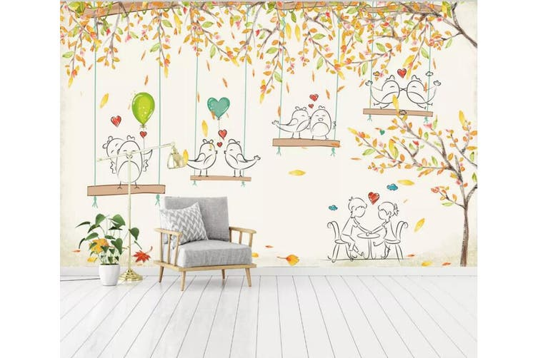 3D Home Wallpaper Tree Bird Love 059 ACH Wall Murals Woven paper (need glue), XXXXL 520cm x 290cm (WxH)(205''x114'')