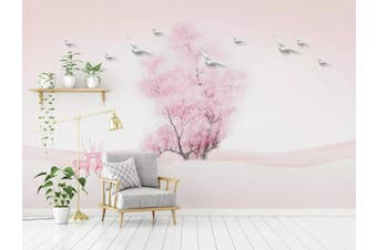 3D Home Wallpaper Pink Tree 058 ACH Wall Murals Woven paper (need glue), XXXXL 520cm x 290cm (WxH)(205''x114'')