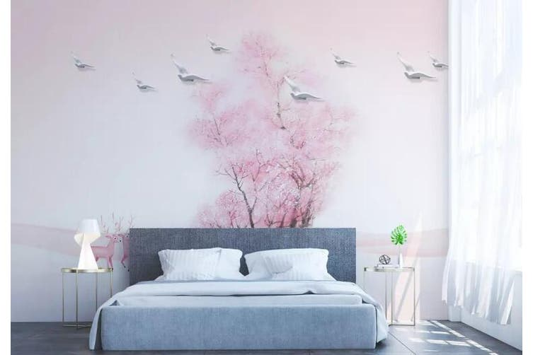3D Home Wallpaper Pink Tree 058 ACH Wall Murals Self-adhesive Vinyl, XL 208cm x 146cm (WxH)(82''x58'')