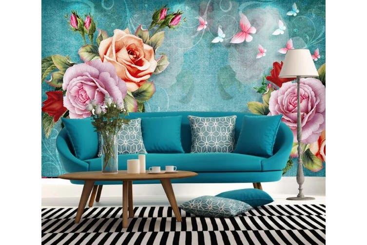 3D Home Wallpaper Colored Flowers 057 ACH Wall Murals Woven paper (need glue), XL 208cm x 146cm (WxH)(82''x58'')