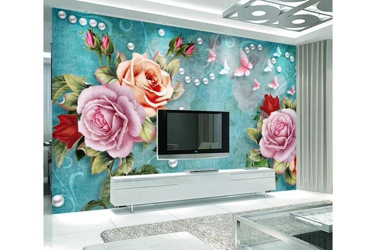 3D Home Wallpaper Colored Flowers 057 ACH Wall Murals Woven paper (need glue), XXXL 416cm x 254cm (WxH)(164''x100'')